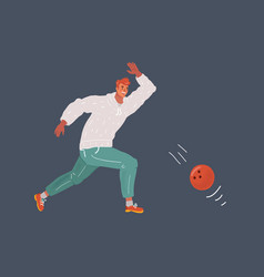man a playing bowling on vector image