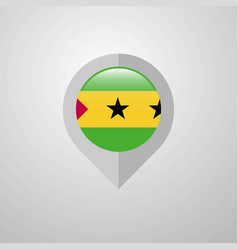 map navigation pointer with sao tome and principe vector image