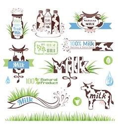 Milk labels and icons for design vector