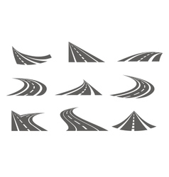 Monochrome Curvy Roads Set vector
