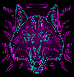 neon wolf print for t-shirts original vector image