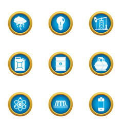 Nuclear science icons set flat style vector