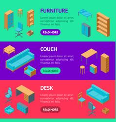 office furniture 3d banner horizontal set vector image
