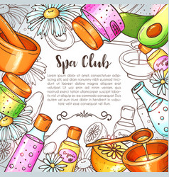 organic cosmetics hand drawn spa and vector image