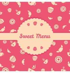 Pink menu cover design with sweets icons seamless vector image