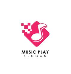 Pixel music logo design template music icon vector