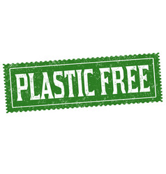 plastic free sign or stamp vector image