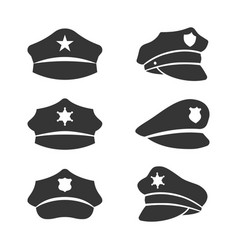 police hat icon set on white background vector image