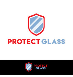 protect shield glass security logo design template vector image