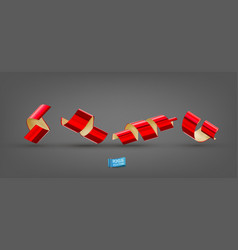 realistic with red confetti ribbons vector image