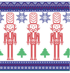 Red blue green nutcracker soldier vector image