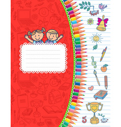 Red cover school notebook in stripes vector