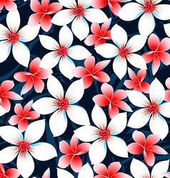 Red white and blue tropical flowers seamless vector