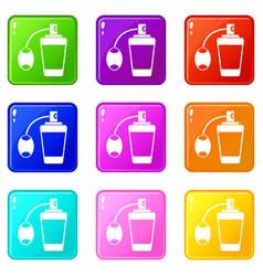 Retro perfume set 9 vector