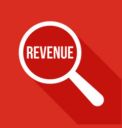 revenue word magnifying glass vector image