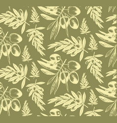Seamless pattern of olive brancheshand drawn vector