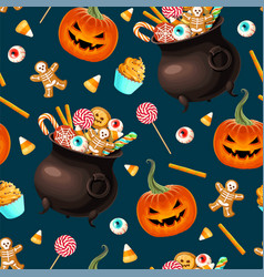 seamless pattern with scary halloween sweet vector image