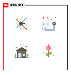Set 4 flat icons on grid for distribute house vector