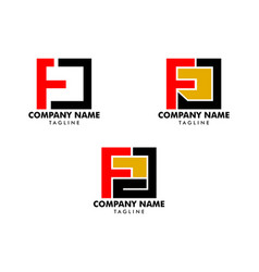 set initial letter fd logo template design vector image