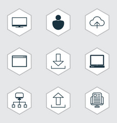 set of 9 web icons includes display program vector image