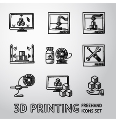 Set of handdrawn 3D Print icons - printers pc vector