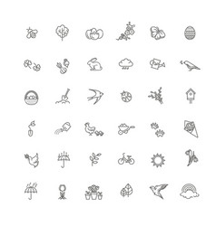 set outline icons spring springtime vector image