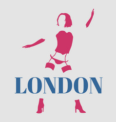 Sexy woman silhouette london text vector