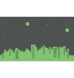 Silhouette of building on green backgrounds vector
