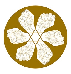 Six fists abstract symbol with hexagonal star vector image