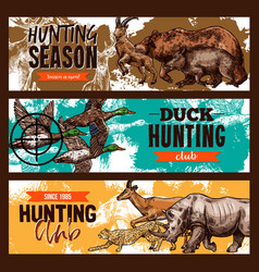 Sketch banners for wild hunting open season vector