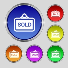 Sold icon sign Round symbol on bright colourful vector