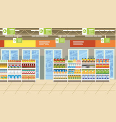 supermarket interior with food on shelves vector image