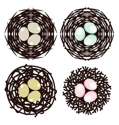 symbols bird nests with eggs vector image