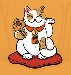 talisman cat beckoning wealth with hammer vector image