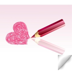 The pink heart not finished by a pencil vector
