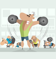 training of five bodybuilders vector image