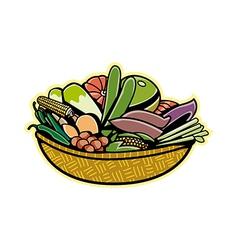 Vegetables on a basket vector