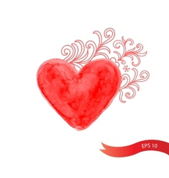 Watercolor red heart with flowers vector image