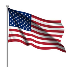 Waving national flag of united states of america vector