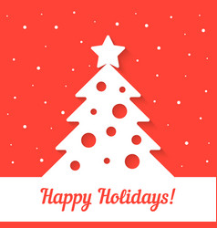 white xmas tree on red background vector image