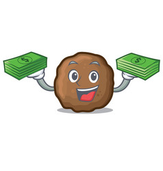 With money meatball mascot cartoon style vector