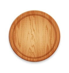 Wooden Round Cutting Board on White Background vector image