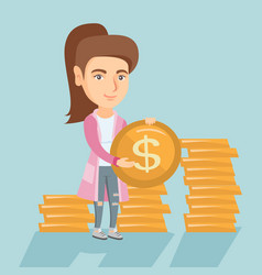 Young successful business woman with dollar coin vector