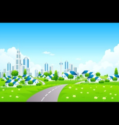 Green Landscape with City and Small Village vector image vector image