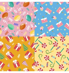 Happy Birthday Seamless Patterns Set vector image vector image