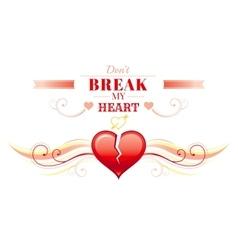 Happy Valentines day border broken heart Romance vector image vector image