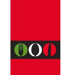 Italian menu design with cutlery symbols vector image vector image