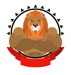 Lion athlete round emblem Big wild animal with vector image vector image