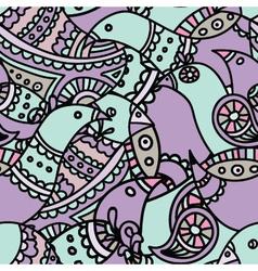 violet ethnic indian bird seamless pattern vector image