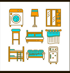 home room furniture interior accessories and vector image vector image
